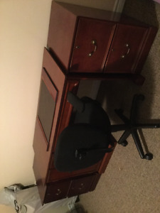 Office desk and chair with two file cabinets