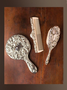Silver-plated Brush, Comb & Mirror Set
