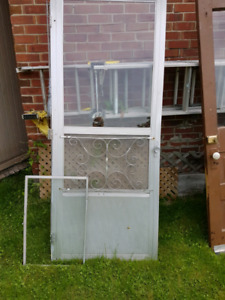 Old screen door (left) 33 1/2 × 82
