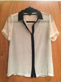 Topshop women's size 10 light blue and white blouse/shirt