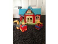 ELC HAPPYLAND FIRE STATION, VEHICLES & FIGURES HARDLY USED