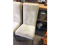 Cream Velvet dinner chairs