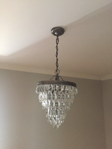 2 Matching Pottery Barn CLARISSA CRYSTAL DROP ROUND Chandeliers