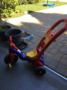 Fisher Price kid bike and toycar and 3-wheel sctooer for sale