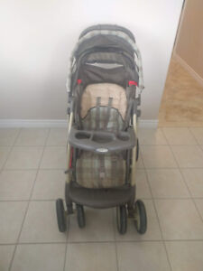 Graco stroller used, collapsible and very sturdy.