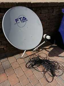 Satellite Free to Air  (FTA) complet +cable RG6 + receiver FTA