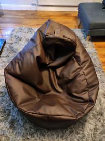 Brown Faux Leather Bean Bag Chair.