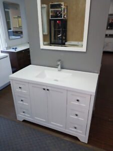 """New white shaker style 48"""" Vanity incl sink top"""
