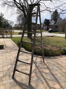 Antique Vintage Wood 8 Foot Step Ladder For Sale