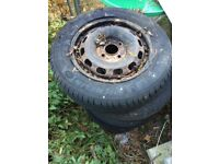 Ford Fiesta 175 65 14 steel wheels and tyres.