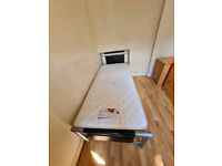 Metal framed single bed and orthopaedic mattress £115