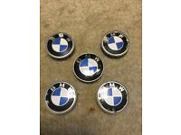 5 Genuine BMW Alloy Wheel Centre Caps