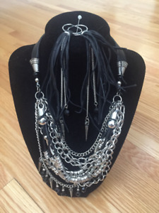 Necklace Black Leather and crystal with Earrings***