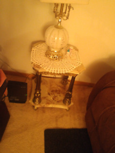 Antique gold trim marble end tables and coffee table