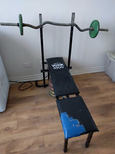 WEIGHT BENCH + 60LBS OF WEIGHTS