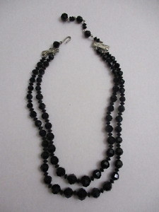Vintage Coro Double Strand Black Jet Beaded Necklace