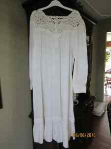 Antique looking women's nightgown with lace tatting