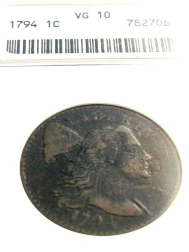 1794 US FLOWING HAIR LARGE CENT, ANACS VG10, VERY NICE !!!!!!!!!!