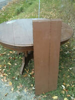 Antique walnut dining table w/leaf. Chair also