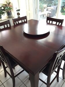 Bar Style Table, Solid Cherrywood with Chairs