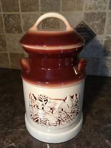 Large Ceramic Glazed Canister 3D Motif Country Scene with Lid