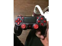 Ps4 custom controller silver and red