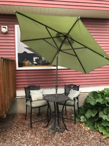 Metal Patio Set with Umbrella & matching Chaise Lounge