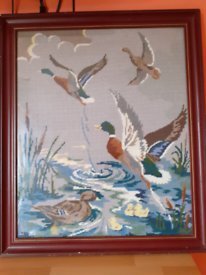 Vintage mallard tapestry picture. Framed with glass.