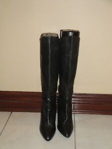 BLACK LEATHER STILETTO BOOTS W/WOOD HEEL - SIZE 7(PAID $300+)
