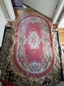 1 LARGE AND 2 SMALL FLORAL RUNNER CARPETS WITH EMBOSSED DESIGNS