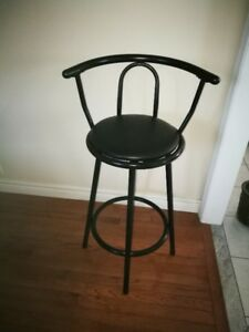 Black Steel & Leather Swivel Bar Stool