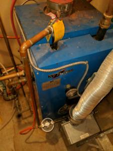 NTI Oil hot water boiler and fibreglass tank