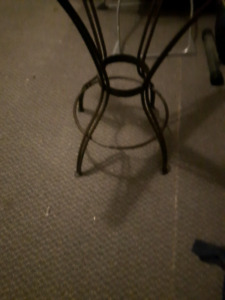 Bistro glass top table and 4 high chairs