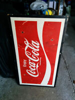 1970's Vintage Wooden Coca-Cola Painted Sign