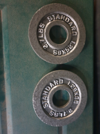 x2 Olympic free weight plates of 1.25kg for barbells and dumbbells