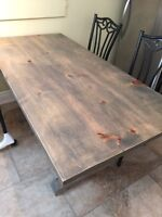 Rustic Trestle Harvest Table w/ Chairs