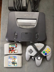 Nintendo 64 with 2 games