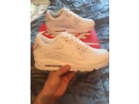 Nike air max 90... SIZE 8 (triple white) Brand new never worn!!