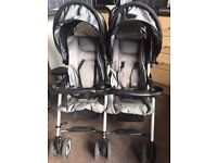Combi double buggy with universal raincover