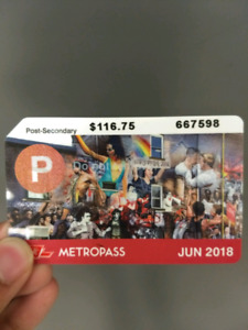 TTC Post Secondary Metropass for sale!