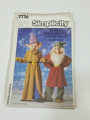 Uncut Simplicity Disney's Dopey Dwarf Grumpy Child Costume Sewing Pattern 7736 - Dopey Costume
