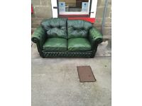 *****Green leather highback chesterfield 2 seater*****Free Local Delivery*****