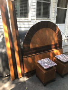 ART DECO FRENCH BED & END TABLES