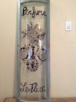 Antique Curved Glass Repurposed To Graphic Sign