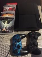PS3 500gb with 2 controllers & 4 games