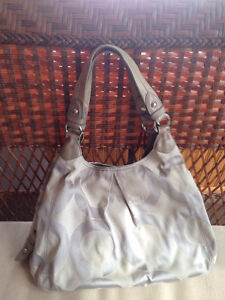 Coach Grey Op Art Signature Sateen Hobo Bag - Retails $298