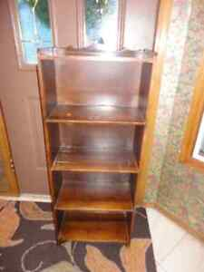 Three Antiques..Walnut Bookcase, Magazine End Table, Wine Table