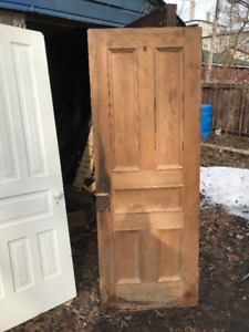 Vintage antique solid 5 panel wood doors nice shape