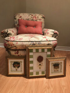 Bedroom slipper chair and co-ordinating artwork