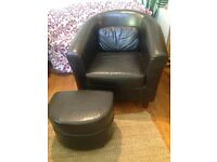 Real leather tub chairs X 2 sets with footstools and matching cushion 🌟REDUCED !
